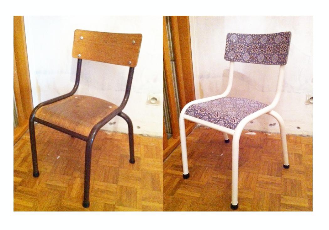 Chaise d colier relook e esprit carrelage du marais do cheap yourself - Peindre une chaise en bois vernis ...